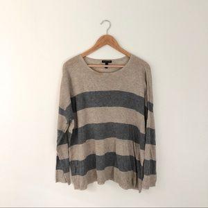 Eileen Fisher Tan Grey Striped Knit Top